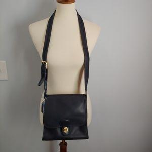 Vintage Coach Navy Leather Cross body Bag